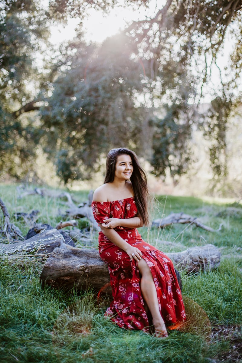 San Diego Senior Photography, girl in red floral dress