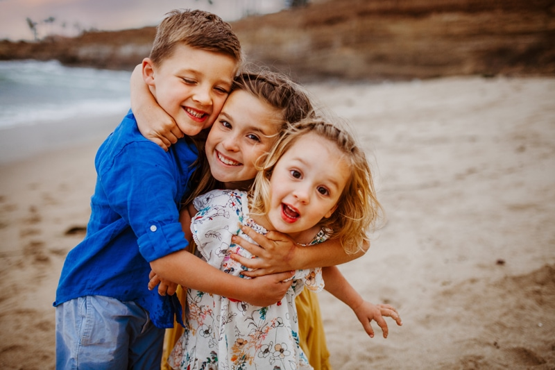 San Diego Family Photography, three siblings hugging