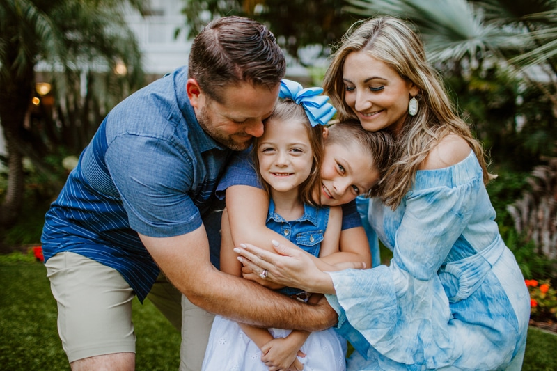 San Diego Family Photography, family of 4 in matching blue outfits