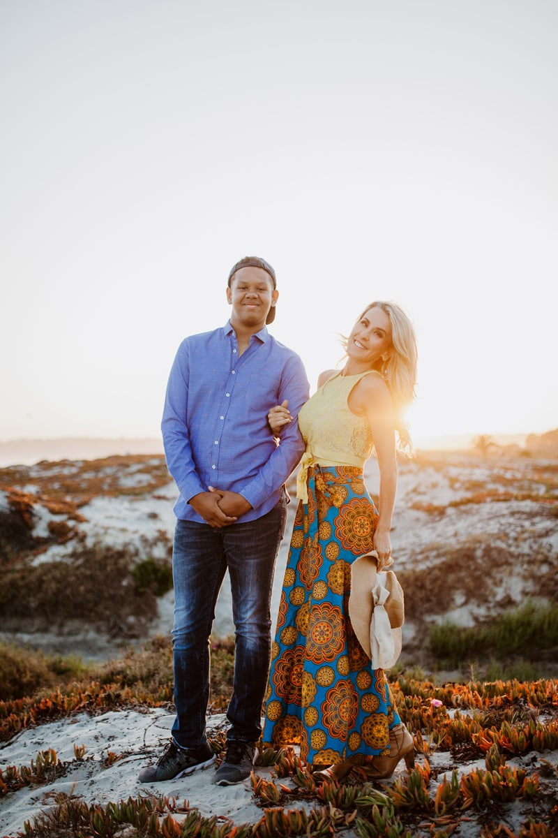 San Diego Family Photography, male and female posing by the beach during sunset