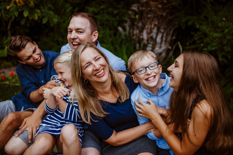 San Diego Family Photography, family of six sitting and laughing together