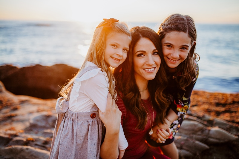 San Diego Family Photography, mother and two daughters on the beach at sunset