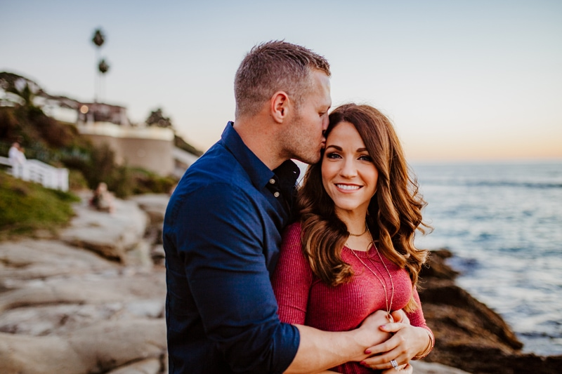 San Diego Couples Photography, man kissing woman on the side of her head