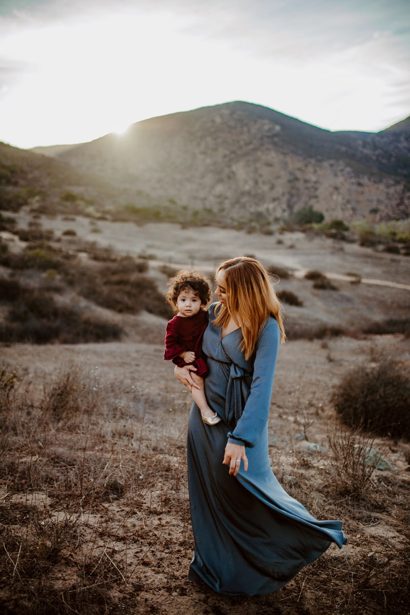 San Diego Family Photography, mother standing in the desert with her daughter