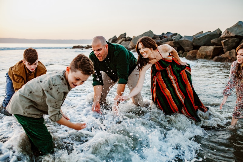 San Diego Family Photography, family of 5 playing in the water