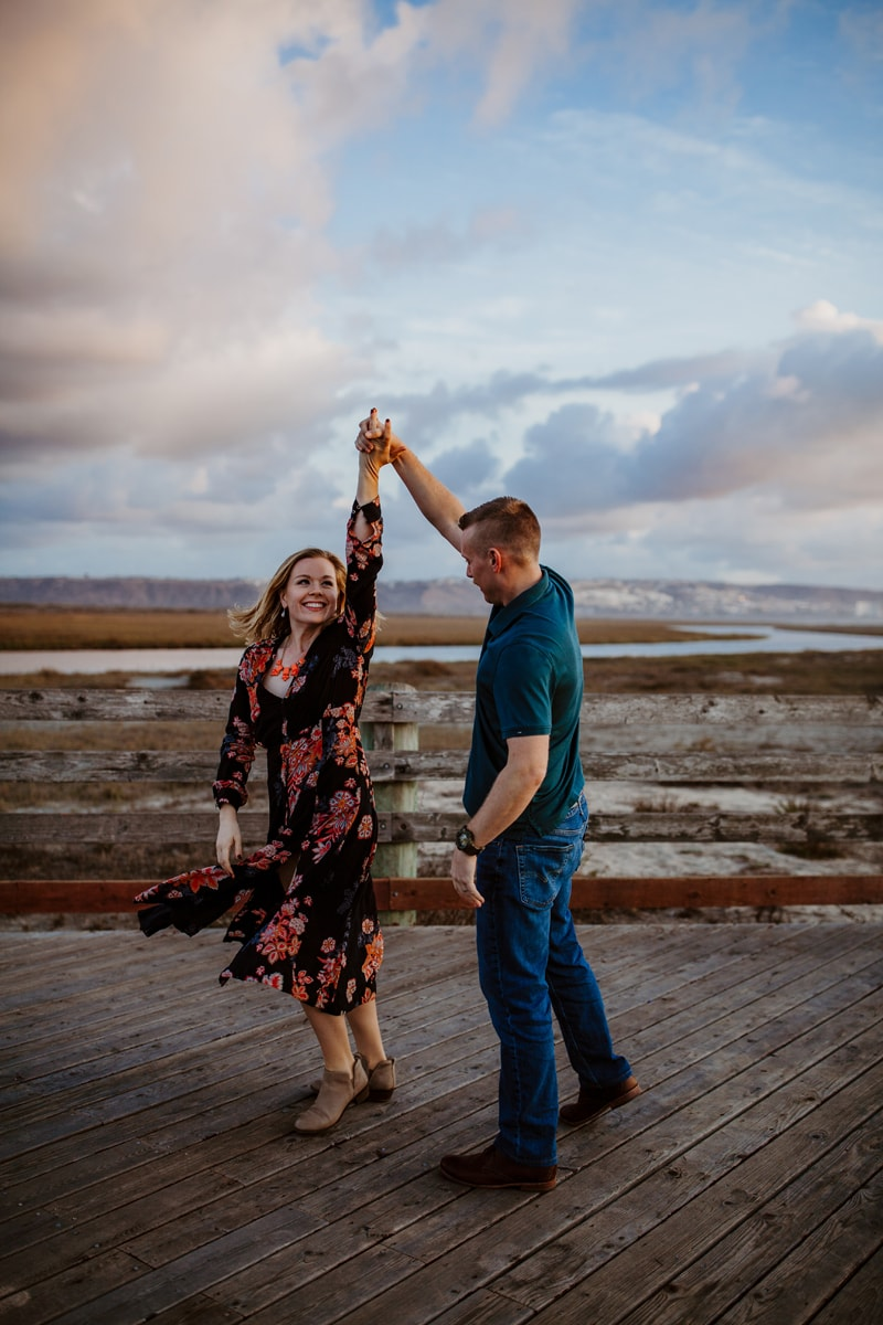 San Diego Couples Photography, couple dancing on pier