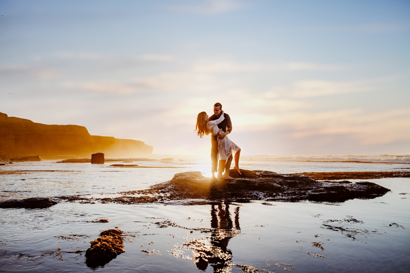 San Diego Couples Photography, woman standing on a rock in the water