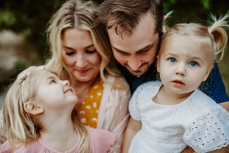 San Diego Family Photography, family of 4 with only littlest girl looking at the camera