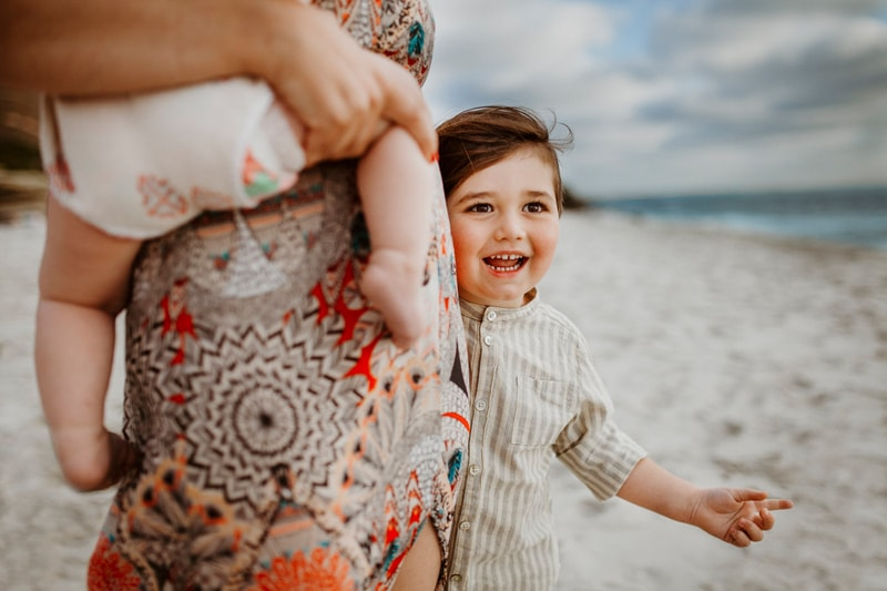 San Diego Family Photography, mother with two children on the beach