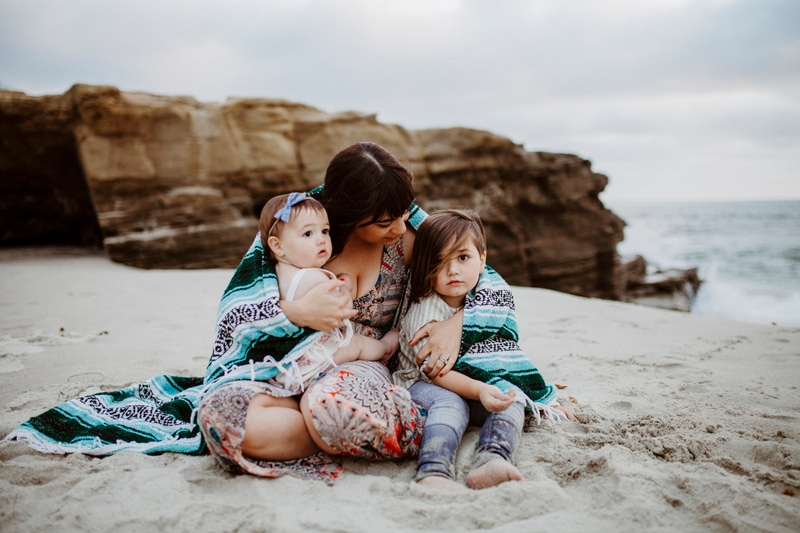 San Diego Family Photography, mother with two children sitting in the sand