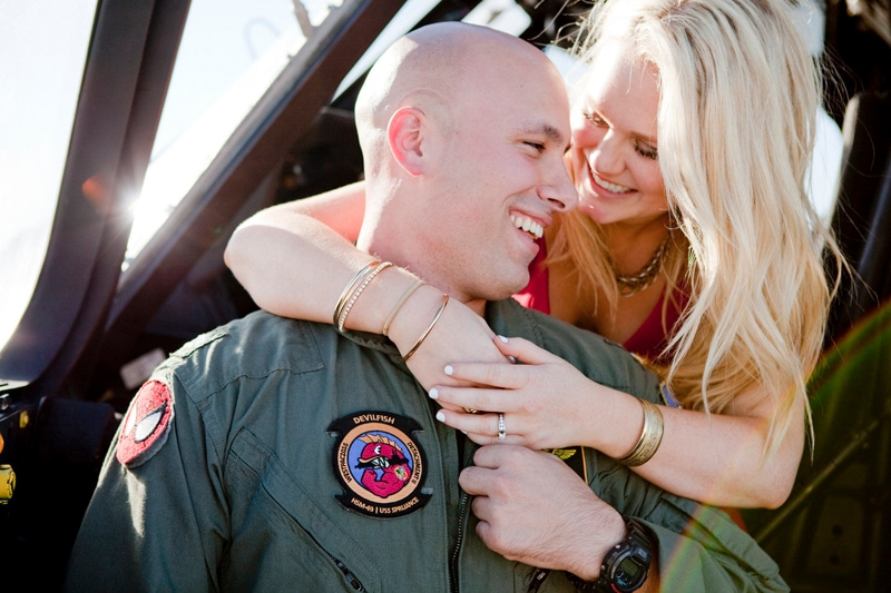 San Diego Military Homecoming, woman with arms around pilot