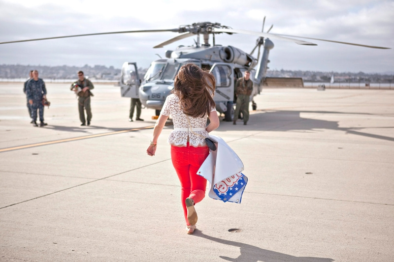 San Diego Military Homecoming, woman running to soldier