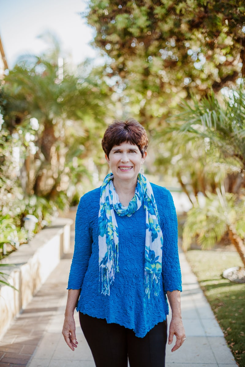 San Diego Branding Photography, woman in blue top and floral scarf