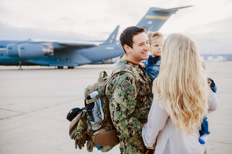 San Diego Military Homecoming, married couple looking at each other